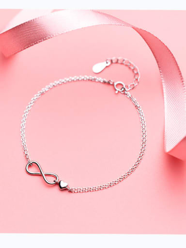 S925 Silver Bracelet Feminine Fashion Double-decker Infinite infinityBracelet Sweet Heart Hand S2419