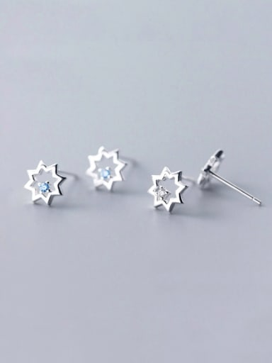 925 Sterling Silver With Silver Plated Simplistic Octagonal star Stud Earrings