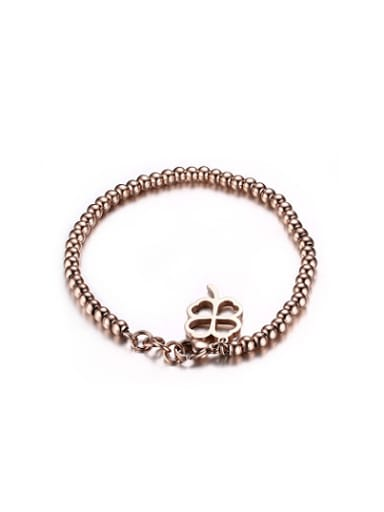 Exquisite Rose Gold Plated Clover Shaped Titanium Bracelet