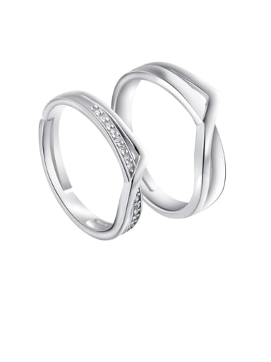 925 Sterling Silver With  Cubic Zirconia Simplistic  Fashion Lovers Free Size Rings