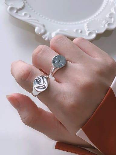 925 Sterling Silver With Platinum Plated Simplistic Round Free Size  Rings