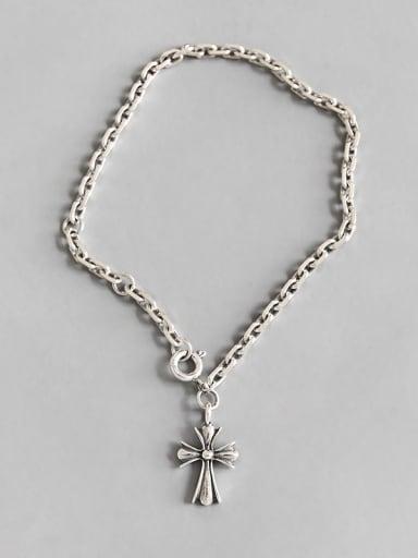 Sterling silver retro cross chain bracelet