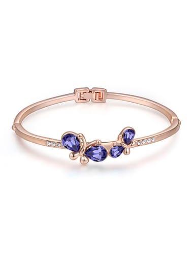 Fashion Double Butterfly Swarovski Crystals Alloy Bangle