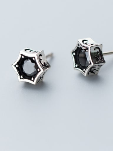 Retro style flashing special shaped zircons exquisite small ear studs