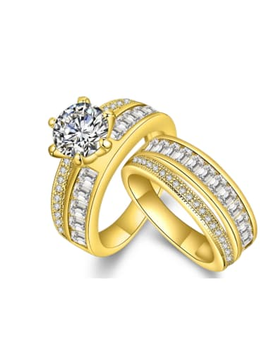 Fashion Gold Plated Zircons Double Ring