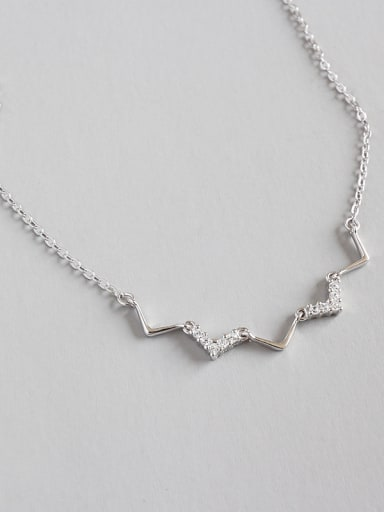 Pure silver micro-encrusted V-wave pattern short necklace