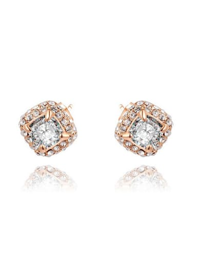 Delicate Rounded Square Shaped AAA Zircon Earrings