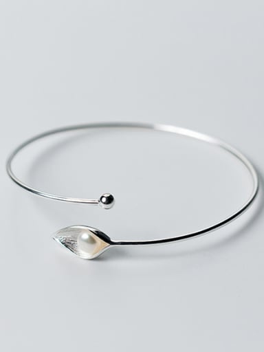 All-match Open Design Artificial Pearl Leaf Shaped Bangle
