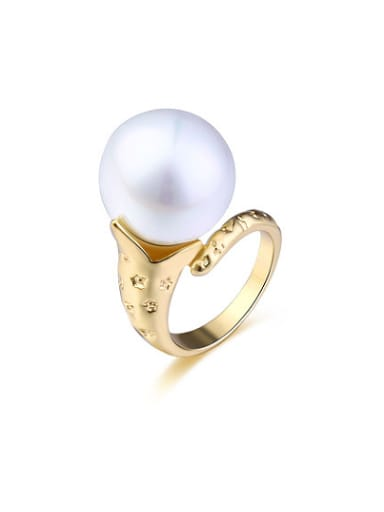 Fashionable Snake Shaped Artificial Pearl Ring