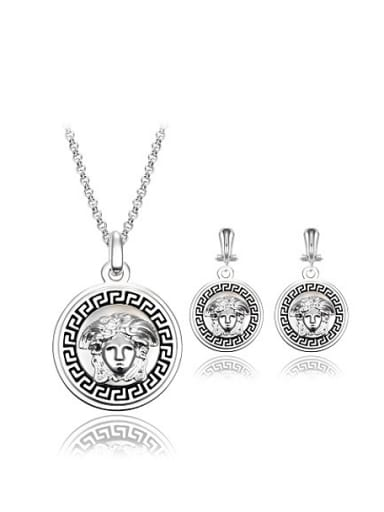 Alloy Silver Plated Fashion Round-shaped Two Pieces Jewelry Set