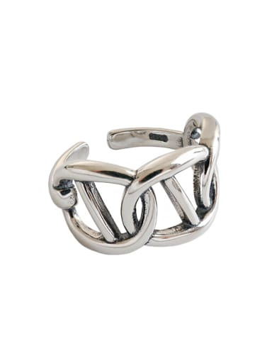 925 Sterling Silver With Antique Silver Plated Vintage Hollow Geometric Free Size Rings