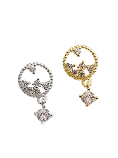 Fashion Cubic Zirconias Silver Stud Earrings