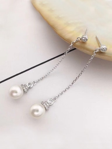 2018 Fashion Freshwater Pearl Drop threader earring