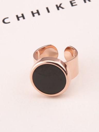 Exaggerated Large Black Circular Disc Opening Ring