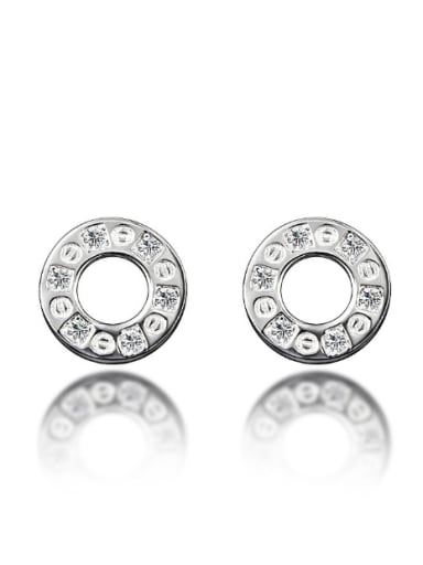 Tiny Simple Hollow Round Cubic Zircon Stud Earrings