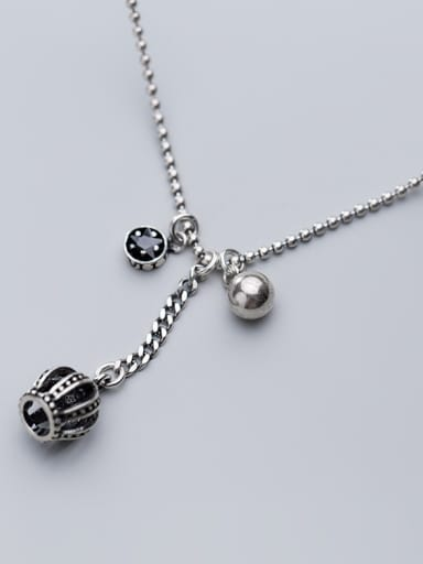 925 Sterling Silver With Silver Plated Simplistic Crown Round Star Bead Necklaces