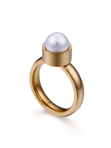 Stainless Steel With  Imitation Pearl Trendy Solitaire Rings