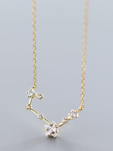 Sterling silver inlaid zirconium flowers stars necklace