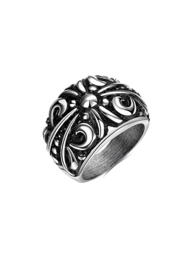 Personality Flower Pattern Stainless Steel Painting Ring