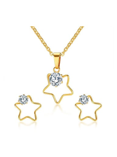 Exquisite Star Shaped AAA Zircon Titanium Two Pieces Jewelry Set
