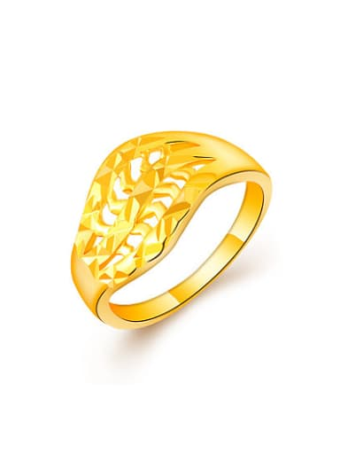 Korean Style Hollow Geometric Shaped 24K Gold Plated Ring