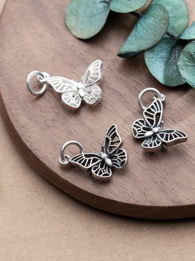 925 Sterling Silver With Antique Silver Plated Classic Butterfly Charms