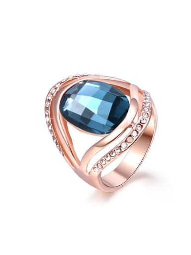 Personality Blue Zircon Rose Gold Plated Ring