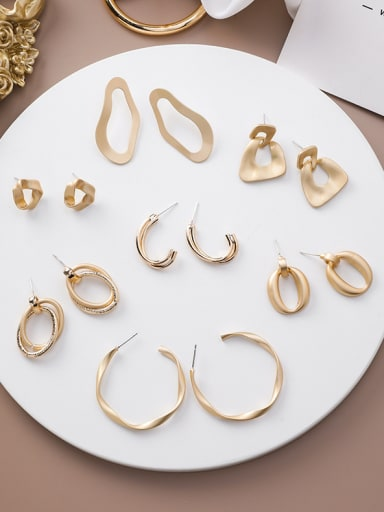 Alloy With Gold Plated Simplistic Smooth  Irregular Drop Earrings