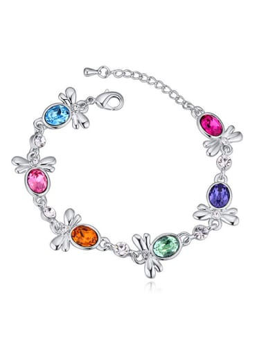 Fashion Oval Swarovski Crystals-accented Little Bees Alloy Bracelet