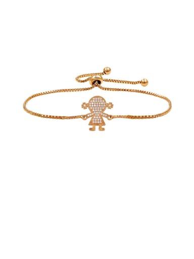 Copper With  Cubic Zirconia Simplistic girl adjustable Bracelets