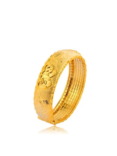 Copper Alloy 23K Gold Plated Ethnic style Dragon and Phoenix Bangle