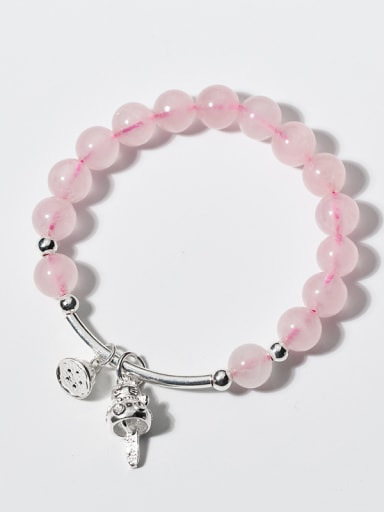 Cute Cat Shaped Pink Crystals S925 Silver Bracelet