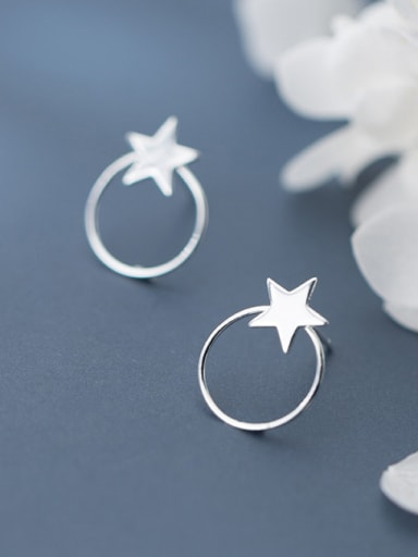 925 Sterling Silver With Glossy Personality Round Pentagram Stud Earrings