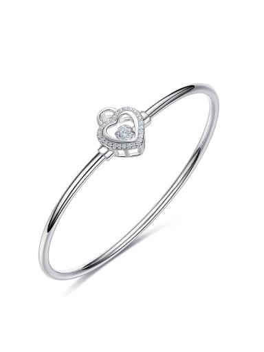 Fashion Hollow Heart Shiny Rotational Zircon 925 Silver Bangle