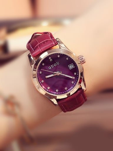GUOU Brand Simple Round Watch