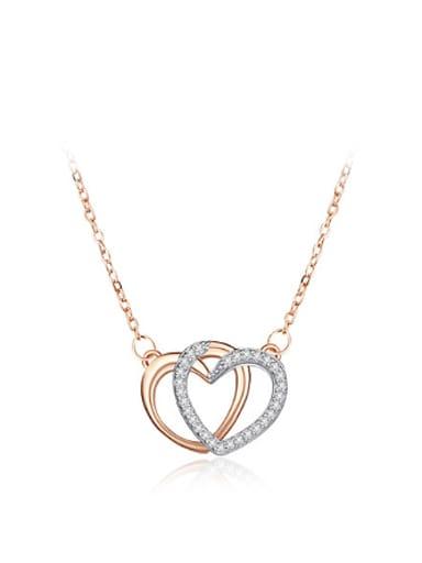 Fashion Double Heart shapes Zirconias Necklace