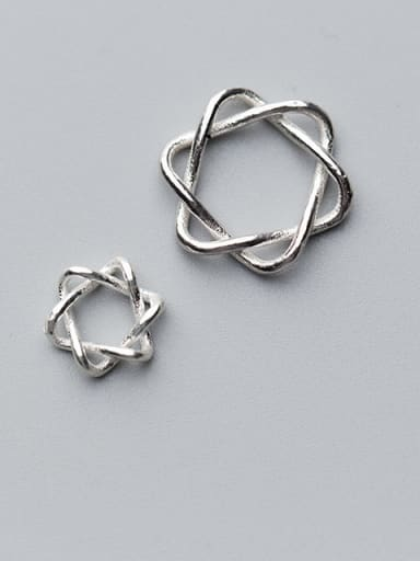 925 Sterling Silver With Silver Plated Geometric 10MM Hexagonal Star Charms