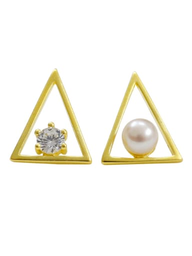 Fashion Hollow Triangle Freshwater Pearl Cubic Zircon Stud Earrings