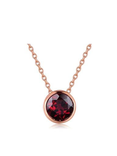 Simple Round Red Garnet Rose Gold Plated Necklace