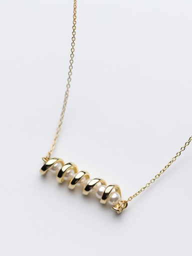 Temperament Wave Shaped Artificial Pearl Gold Plated Necklace
