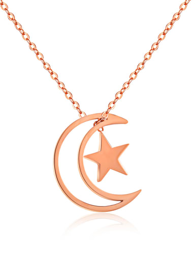 Stainless Steel With Rose Gold Plated Fashion Star  moon Necklaces