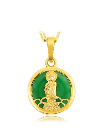 Copper Alloy 23K Gold Plated Fashion Kwan-yin Emerald Necklace