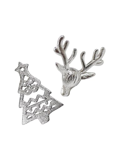 Personalized Christmas Tree Little Deer Silver Stud Earrings