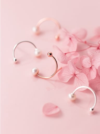 925 Sterling Silver With Silver Plated Simplistic C-shaped Stud Earrings