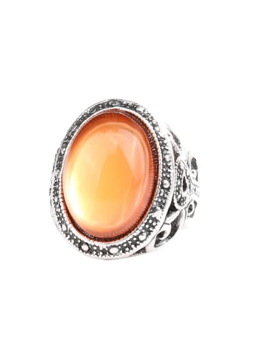 Retro style Hollow Oval Resin stone Alloy Ring