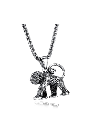 Retro style Personalized Walking Baboon Titanium Necklace