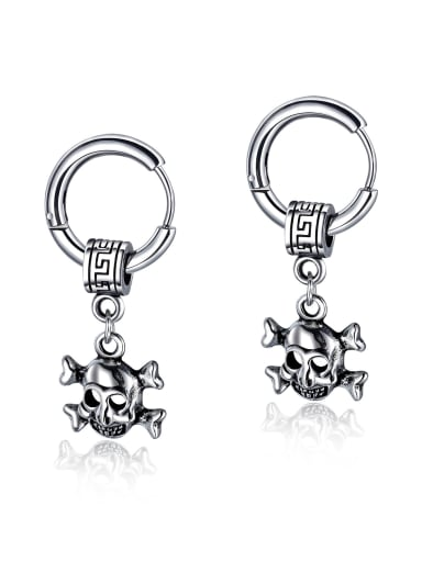 Stainless Steel With Antique Silver Plated Vintage Skull Stud Earrings