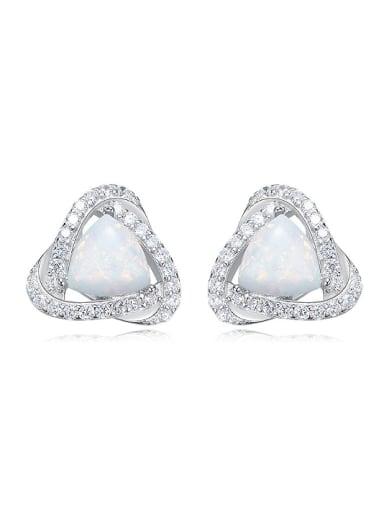 Fashion Little Opal stones Cubic Zirconias 925 Silver Stud Earrings