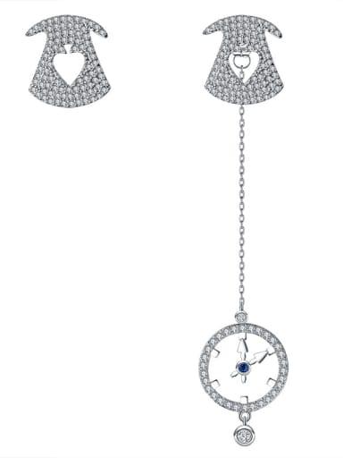 Flickering clock micro-inlay AAA zircon asymmetrical Earrings