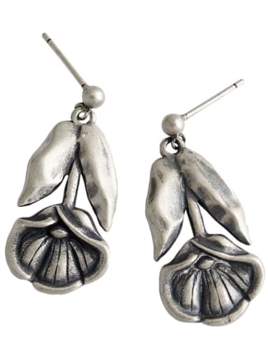 925 Sterling Silver With Antique Silver Plated Vintage  Vintage Lotus Flower Drop Earrings